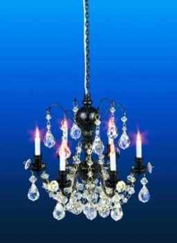 Real CRYSTAL- Black 6 Arm Chandelier