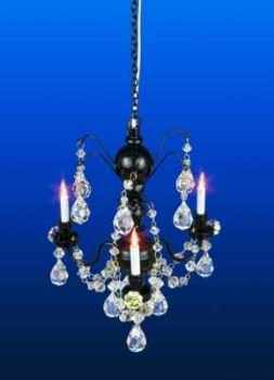Real CRYSTAL - Black 3 Arm Chandelier