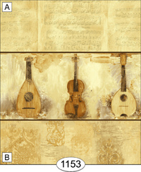 Wallpaper - String Instruments - Brown - Pattern B with Border