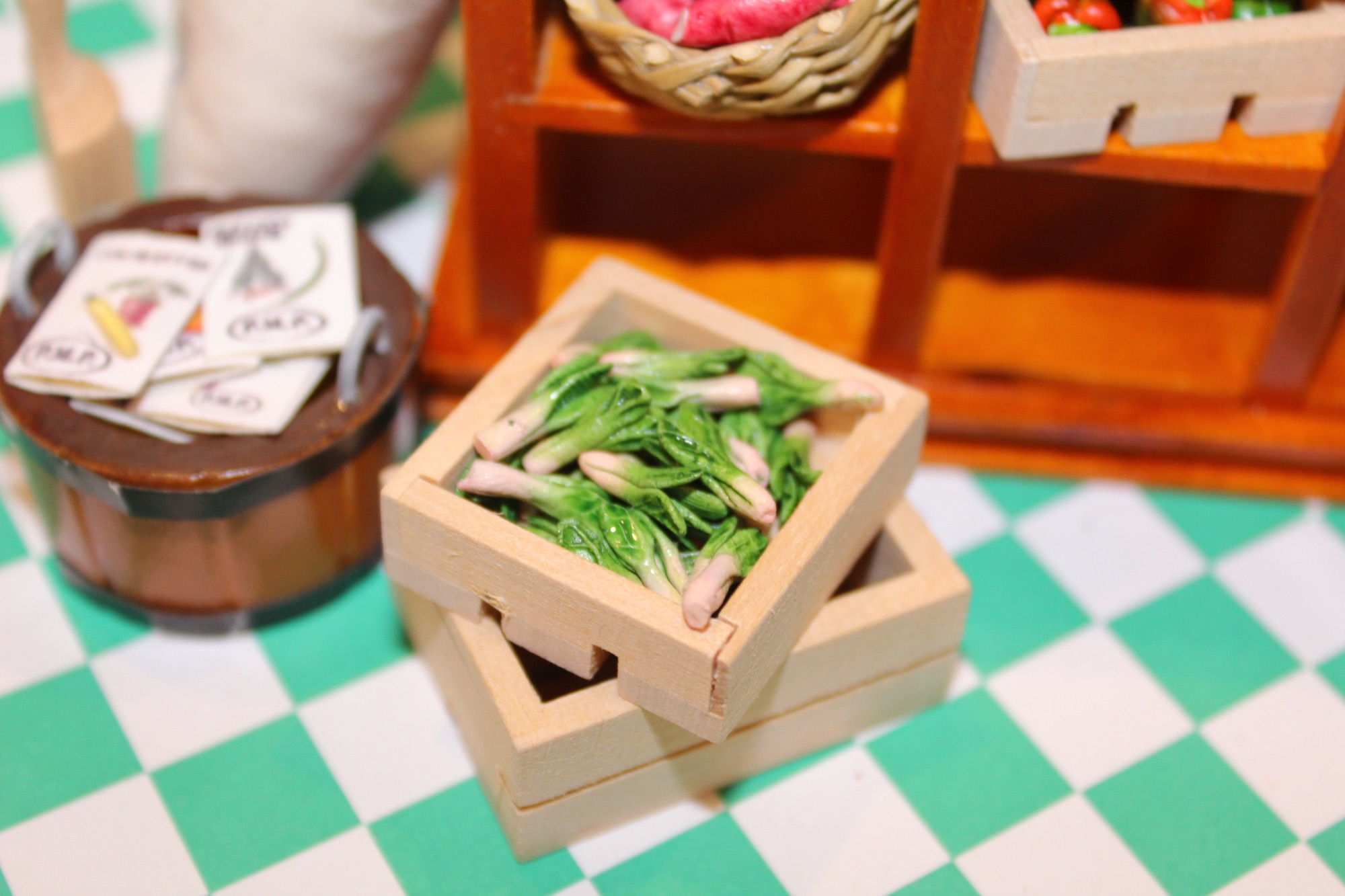 12th Scale Dolls House miniature crate and leeks with seeds