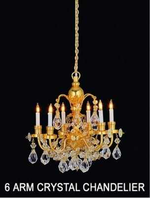 Real CRYSTAL 6 Arm Chandelier - Gold Finish