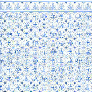 Wallpaper Compact Dutch Tile  Blue on White
