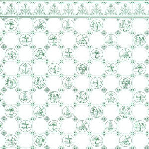 Wallpaper Dutch Tile  Green on White