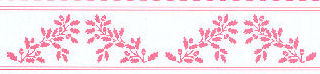 Acorns Border, Pink on White background