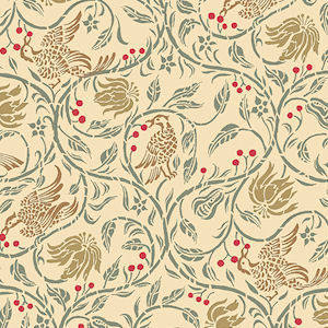 Birds & Berries, Cream background