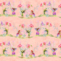 Wallpaper Fairies with Sweet Peas, Pink background.