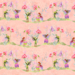 Fairies with Sweet Peas, Pink background.