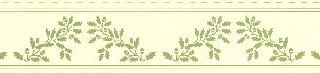Acorns Border, Green on cream background.