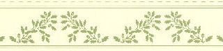 Wallpaper border Acorns, Green on cream background.