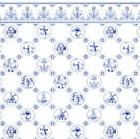 24th Scale Wallpaper Dutch Tile,  Blue on White background
