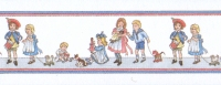 24th Scale Wallpaper Border, Children on White background