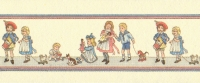 24th Scale Wallpaper Border, Children on Cream background