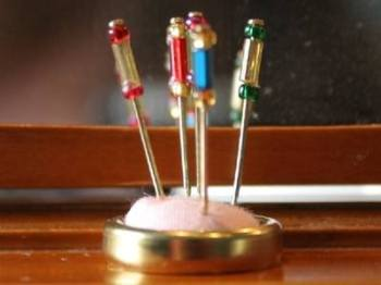 Pink Hatpin Stand and Pins