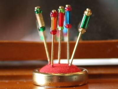 Red Hatpin Stand and Pins