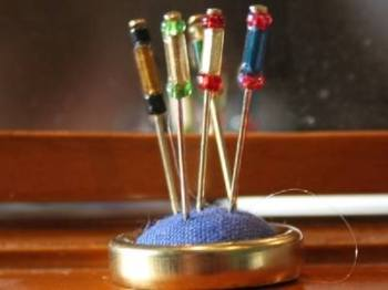 Blue Hatpin Stand and Pins