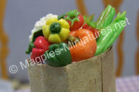 Peppers and Vegetables in Brown Paper Bag