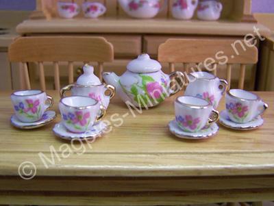 Tea Set White And Pink Floral Design