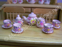 Pink Tea Set With Roses