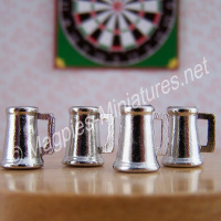 Tiny Pewter Tankards, Pack of 4