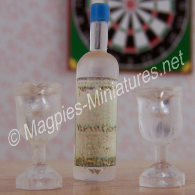Spirit Bottle and 2 Glasses - Plastic