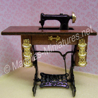 Sewing Machine with Table - Brass Detail