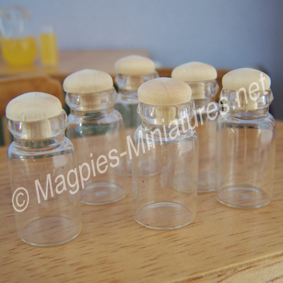 Glass Jars with Wooden Stoppers-6pc