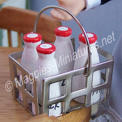 4 Milk Bottles with Crate