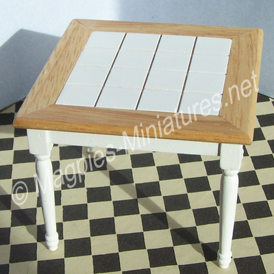 White Tiled Kitchen Table
