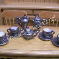 Coffee Set, Ornate Silver Coloured Decoration