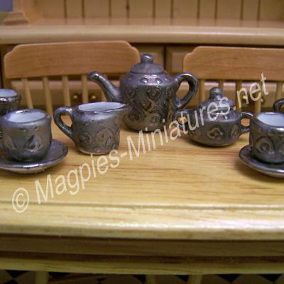 Tea Set, Ornate Silver Coloured Decoration
