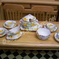 Tableware, Gold and Yellow Rose