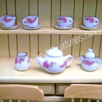 Tea Set - dainty pink flower - FILLED or EMPTY