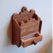 1:12th scale mahogany candle box with opening drawer