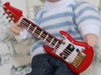 Red Electric Guitar with Case - 1:24 24th Scale