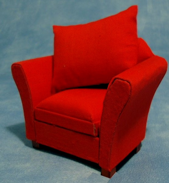12th Scale Red Dollshouse Armchair with removable cushion