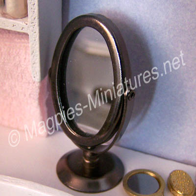 Oval Silver Coloured Swivel Mirror