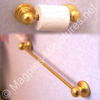 Brass Towel Rail and Toilet Roll