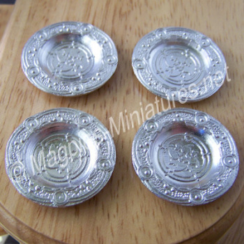 Silver Coloured Metal Platter - Pack of 4