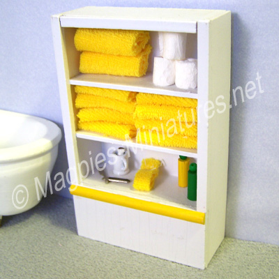 White Bathroom Shelving Unit - Yellow Accessories