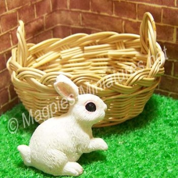 Dolls House Miniature Oval Basket