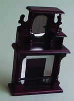 Ornate Fireplace with Mirror - Mahogany