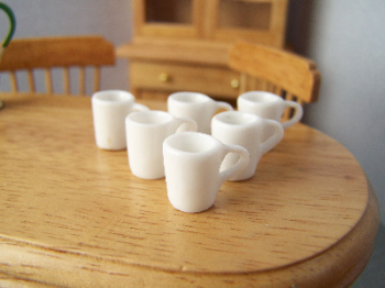 White Modern Mugs, Set of 6