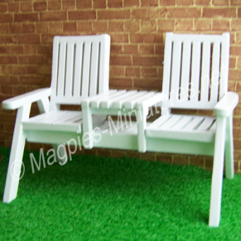 Twin Garden Seat - white painted