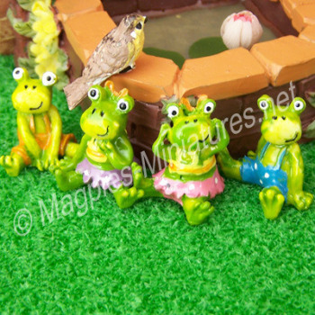 Set of 4 colourful Frog Pond Ornaments