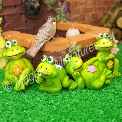 Set of 4 Pond Frog Ornaments