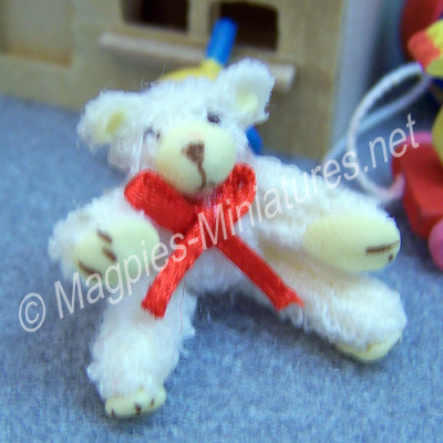 d932a sitting bear - cream with red bow