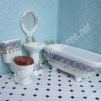 "Ceramic Bathroom Suite - ""Blue and Gold""- Lilac Colour"