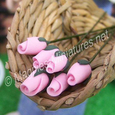 Set Of 6 Flower Buds Pink