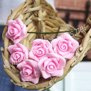 Set Of 6 Single Roses Pink