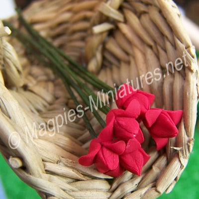 Set Of 6 Small Flowers Red